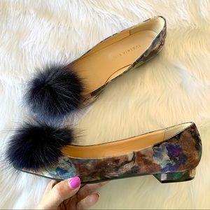 NWOT Eugenia Kim floral velvet flats w/ fox poms